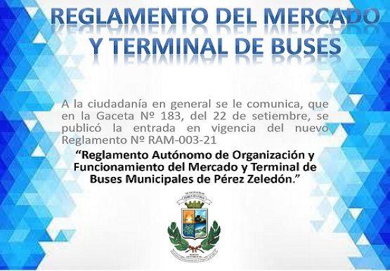 Entrada en vigencia del Reglamento del Mercado y Terminal Municipal