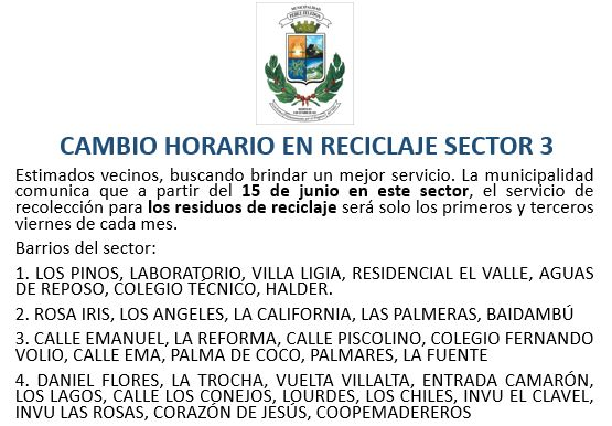 Cambio de Horario en Reciclaje - Sector 3